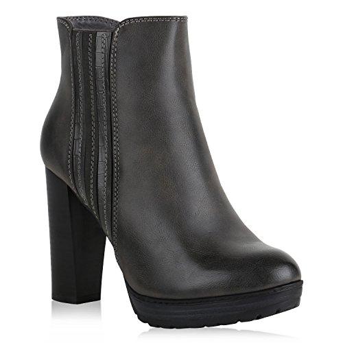 Stiefelparadies Damen Ankle Boots Plateau Stiefeletten Zipper Leder-Optik Schuhe Metallic High Heels Strass Profilsohle Booties Flandell Grau