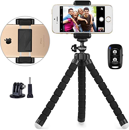 Phone Tripod, UBeesize Portable and Adjustable Camera Stand Holder with Wireless Remote and Universal Clip, Compatible…