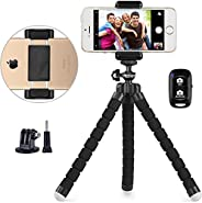 Phone Tripod, UBeesize Portable and Adjustable Camera Stand Holder with Wireless Remote and Universal Clip, Co