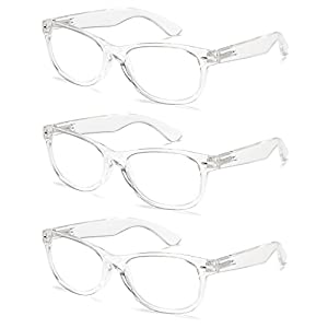Gamma Ray 3 Pair Deluxe Classic Style Reading Glasses with Spring Hinge Readers for Comfort fit Men and Women – Clear Frame 1.75x