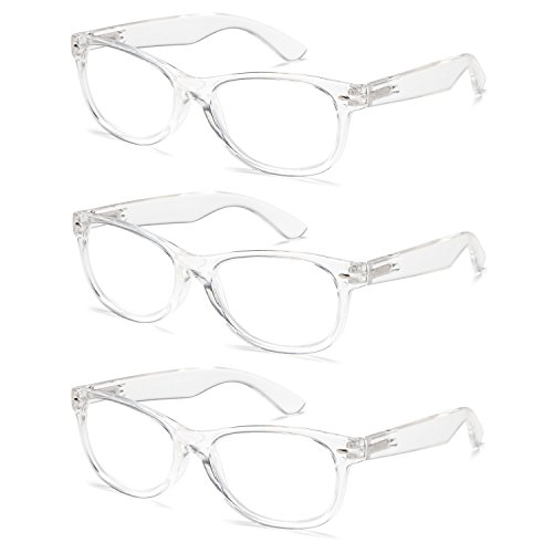 Gamma Ray 3 Pair Deluxe Classic Style Reading Glasses with Spring Hinge Readers for Comfort fit Men and Women – Clear Frame 2.50x