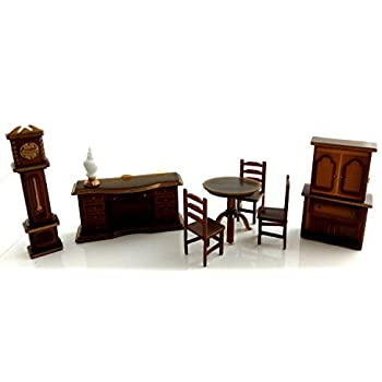 Dollhouse Miniature 1:48 Scale Plastic Dining Room Furniture Set Suite