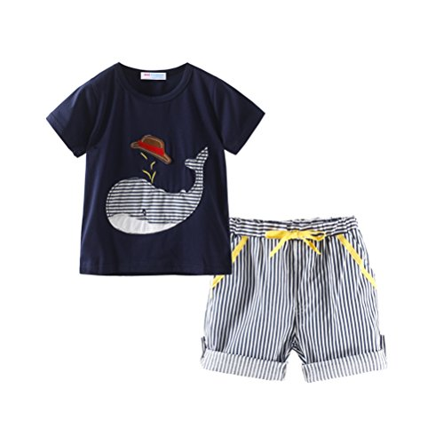 Mud Kingdom Little Boy Short Clothes Set For Summer Holiday Whale Applique