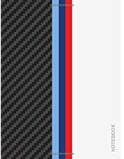 Notebook: M-Colored Stripes - Large 8.5 x 11 - College Ruled 110 Pages   Carbon Fiber White