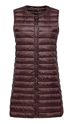 chouyatou Women's Light Button Up Quilted Mid-Long Down Vest Waistcoat (X-Large, Brown)