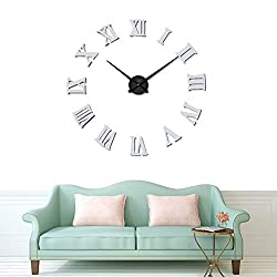 DIY Wall Clock Silent 3D Acrylic Sticker Roman Numbers Adhesive Modern Art Wall Clock Parts Kit Home Decorations for Office Living Room Bedroom (gray)