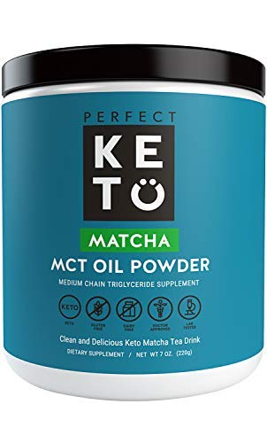 Perfect Keto MCT Oil Powder: Ketosis Supplement (Medium Chain Triglycerides, Coconuts) for Ketone Energy. Paleo Natural Non Dairy Ketogenic Keto Coffee Creamer (Matcha)