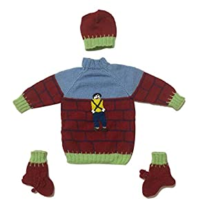 Hand Made Woolen Sweater with Cap and Booties Set for 0 to 6 Months Baby Boys & Girls