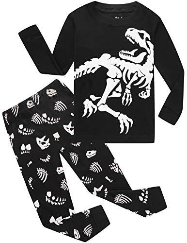 Dinosaur Pajamas Boys Glow in Dark Pjs Cotton Sleepwear Set Toddler Kids Clothes 4t
