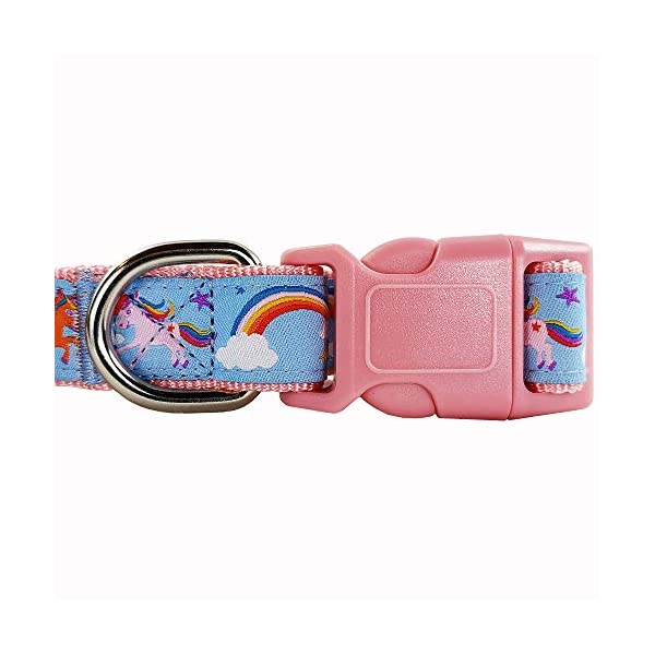 Bestbuddy Pet Fashion Designer Cartoon Unicorns and Rainbows Durable Nylon Ribbon Dog Collar Pet Collar Trendy Comfortable Adjustable Dog Collar with Buckle BBP035 7