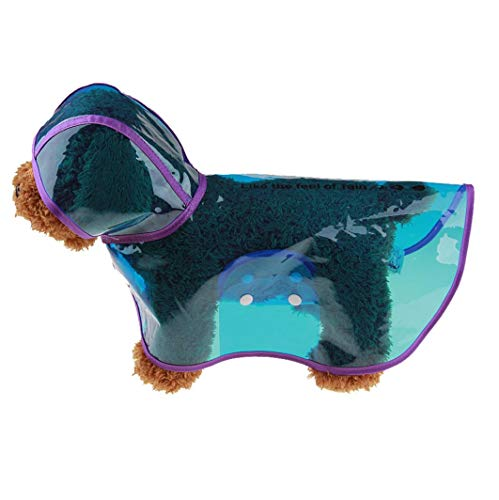 Fitfulvan Pet Dog Puppy Rainwear Raincoat Pet Hooded Waterproof Jacket Clothes(Blue,S)