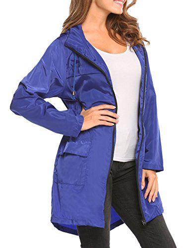 al Capucha con Ideal Asimetrica Impermeables Aire Chaqueta Azul para HOTOUCH S Libre Chubasquero Mujer Deportes Abrigos XXL wP0q40