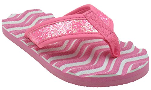 (Capelli New York Striped Girls Flip Flop With Crunchy Glitter Thong Pink Combo 1/2)