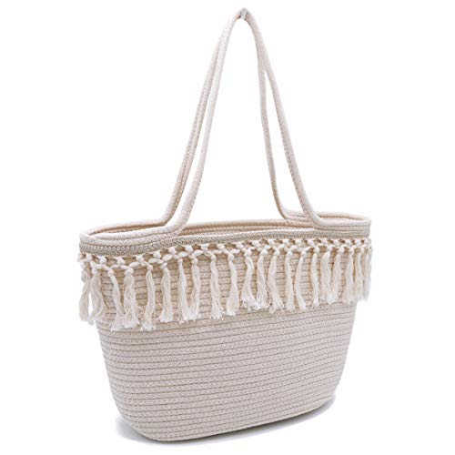 Beach Tote Bag Handmade Cotton Woven Travel Tote Tassels Shoulder Bag for Women (Style 01) ()
