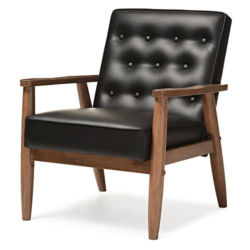 Baxton Studio Sorrento Mid-Century Retro Modern Faux Leather Upholstered Wooden Lounge Chair, - Retro Studio