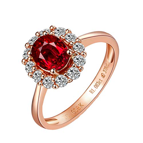 MoAndy Rose Gold 18K Classic Ring Promise Rings Wedding Bands Lady Ruby 1ct & Diamond Red Size 6.5 ()