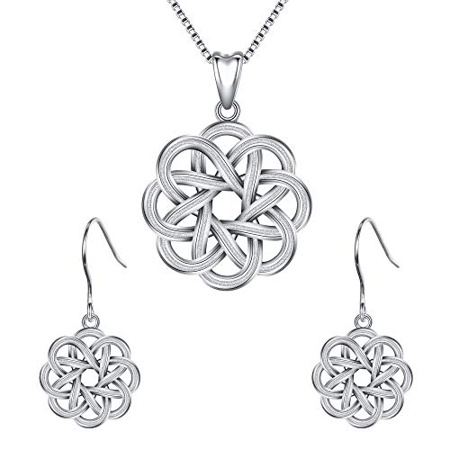 EleQueen Women's 925 Sterling Silver Celtic Knot Endless Knot Dainty Necklace Earrings Sets