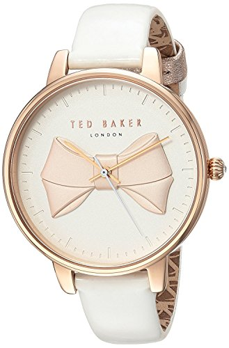 Ted Baker Women's 'BROOK' Quartz Stainless Steel and Leather Casual Watch, Color:White (Model: TEC0185005)