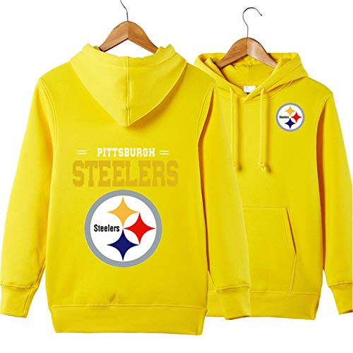 JJCat Men's Long Sleeve Hooded Letters Print Pittsburgh Steelers Football Team Solid Color Pullover Hoodies(XL,Yellow)