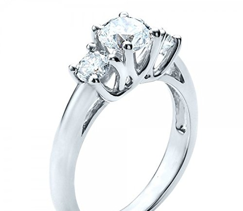 Gowe trois Pierre Rond Coupé 1.5CT Centre imitation diamant Bijoux en or massif 9ct or blanc Bague de fiançailles