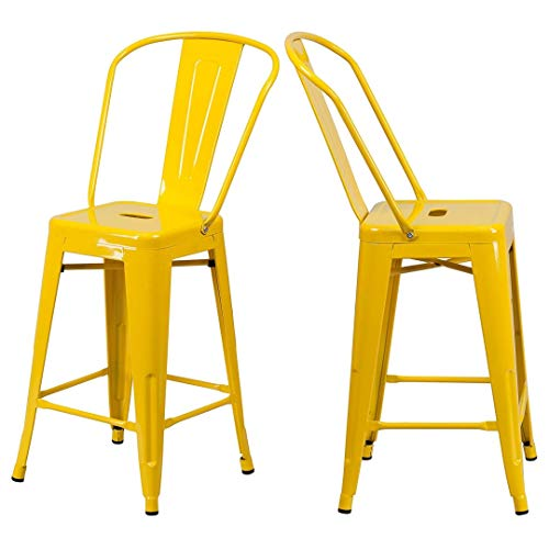 - KLS14 Modern Vintage Style Premium Metal Construction Indoor-Outdoor Bar Stool Curved Backrest Vertical Slat Design Counter Height Side Chair Home Office Decor Furniture - Set of 2 Yellow #2023