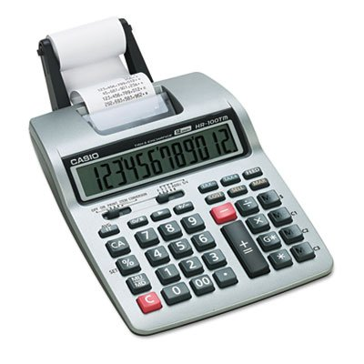 HR-100TM Two-Color Portable Printing Calculator, Black/Red Print, 2 Lines/Sec