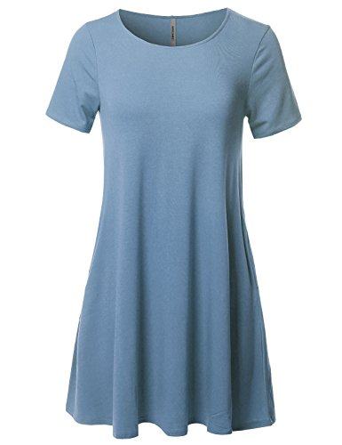 Loose Dress Casual Tunic Titanium Women's Awesome21 Short Sleeve Aawdrs0007 Fit Stretchy 0xnwZIqYZ8