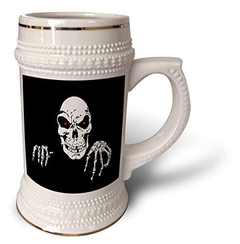 3dRose Sandy Mertens Halloween Designs - Death is Waiting Evil Skeleton with Black Background, 3drsmm - 22oz Stein Mug -
