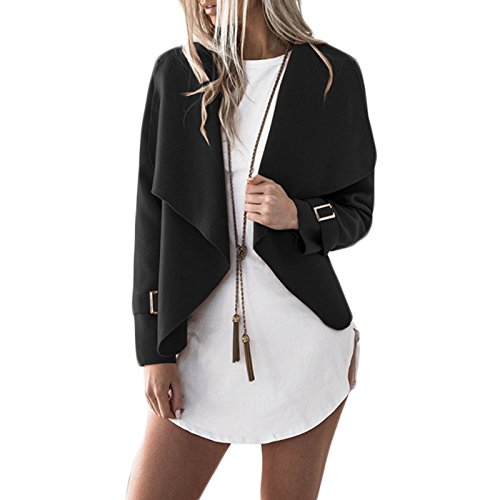 Femmes Manches Longues Lache Mode Casual Lapel Veste Petit Manteau Cardigan Court Jacket Ouvert Blazer Blouson Coat Noir