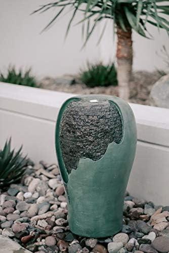 XBrand CR2515FTTUR Indoor Outdoor D cor Modern Round Broken Egg Shell Water Fountain w/LED Light