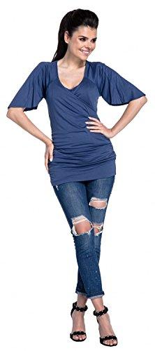 Zeta Ville - T-shirt a capa lactancia 2 en 1 escote de pico - para mujer - 435c Azul Gris