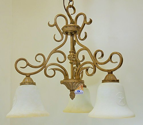 Golden Brulee Finish Scrolled Metal 3 Light Chandelier Texas Lone Star Glass Lighting ()