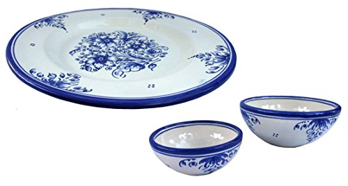 Talavera Tapa Plate, Salsa & Condiment Bowl Set - Hand Painted in Spain by Cactus Canyon Ceramics