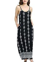 Eloise Isabel Fashion Mulheres Boho Longo Maxi Vestidos V Neck Mangas Verão Beach Dress Ladies Spaghetti Strap Maxi Vestido Longo Sexy Vestido de Verão ...