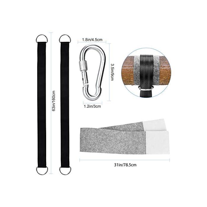 41OkymFSwhL ☆ Mantenlo a salvo: cada producto está equipado con ganchos en forma de D extra gruesos y cierres de seguridad de acero de resistencia industrial, con seguros grandes y duraderos y un sistema de bloqueo para evitar que las tiras se caigan durante el balanceo. ☆ material de alta calidad: Material de la faja: tela de poliéster, anillo en D y material de gancho tipo D: acero inoxidable de alta calidad, peso: 580 g, tamaño: 150 * 5 * 0.3 cm, colocación del producto: correa 2 + bolsa de almacenamiento 1 + fuerte Anillo D 2 + paño resistente al desgaste 2 hojas ☆ Protección de árboles: estos kits de colgar columpios no dañarán hermosos árboles. Está equipado con un dispositivo de protección de árboles para garantizar que las correas de los hombros y los árboles no se desgasten y dañen durante el movimiento.