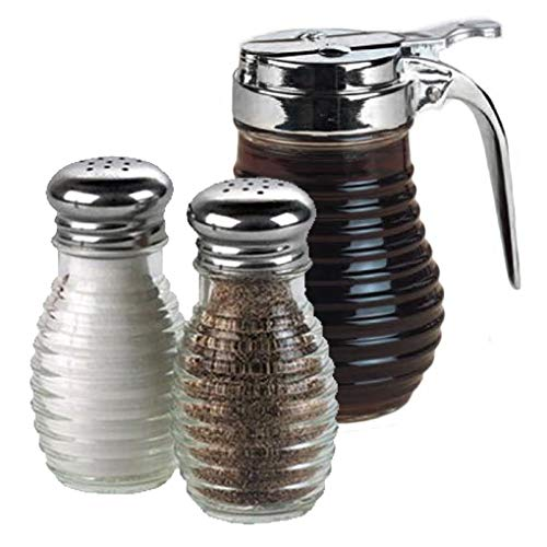 - American Metalcraft Beehive Glass Syrup Dispenser with Salt and Pepper Shakers