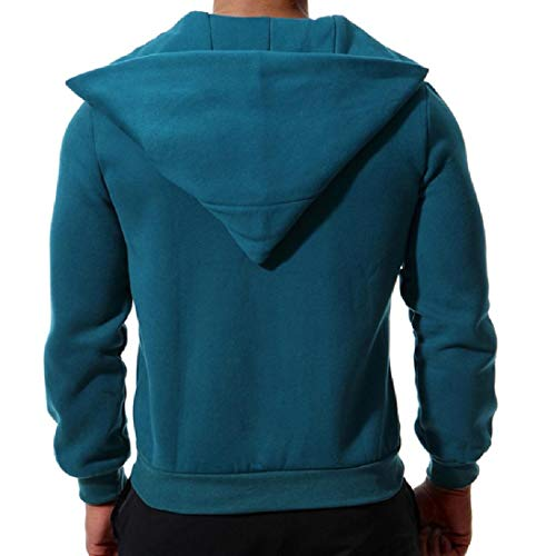 Green Casual Hood Solid Coat XINHEO with Zips Colored with Blackish Fleece Jacket Mens wXXq4Tn7