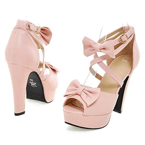 Inornever High Heels Plaform Sandals for Women Sweet Bowtie Strappy Chunky Heels Party Wedding Pump Shoes Pink 8 B (M) US