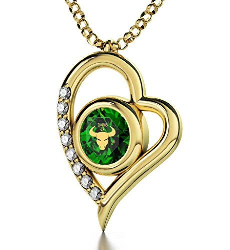Gold Plated Zodiac Heart Pendant Taurus Necklace 24k Gold inscribed on Green Crystal, 18'' by Nano Jewelry