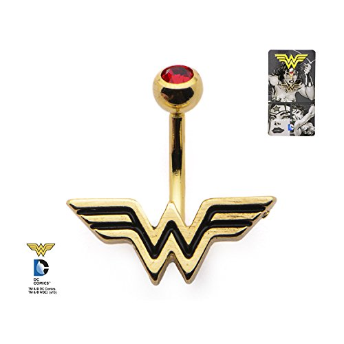 14g 3/8 Gold Plated Navel with Red CZ and Wonder Woman Logo Belly Ring Body Piercing Jewelry - Belly Rings Logo