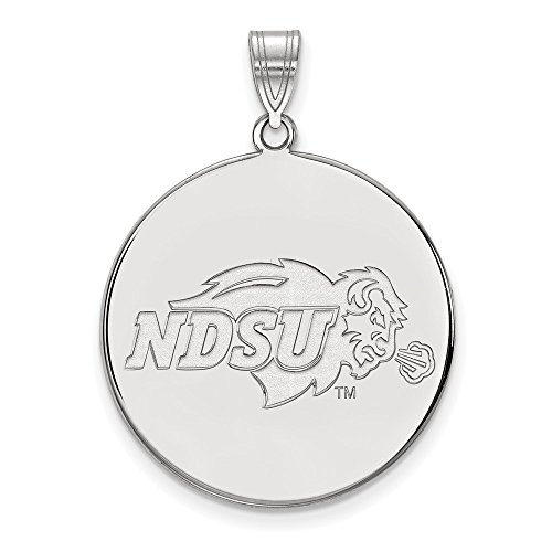 Sterling Silver Rh-plated LogoArt North Dakota State XL Disc Pendant, Sterling Silver
