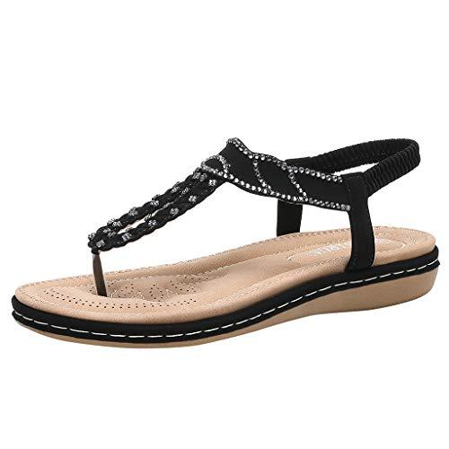 - Clearance! Swiusd Womens Girls Clip Toe Sandals Retro Ethnic Style Rhinestone Flat Sandals Vintage Slingback Open Toe Beach Shoes (Black, 8 M US)