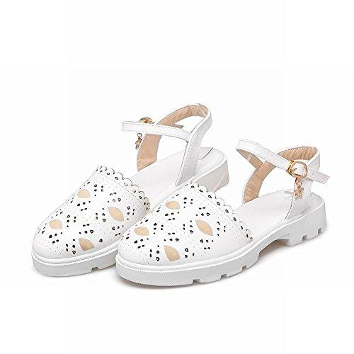 Mee Shoes Damen flach Schnalle Slingback runde Pumps Weiß