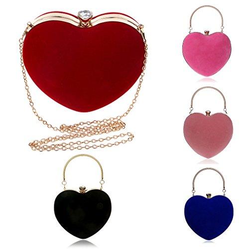 De Chaîne Pochettes D'amour amp; En Clutches Sac Mini YOFO Main Pink Femelles À Cadeau Sac Velours Rouge Coeur Soirée Paquets awTqxdgFWd