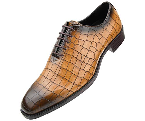 Bolano Mens Exotic Faux Crocodile Print Plain Toe Oxford Lace-Up Dress Shoe, Style Carmine