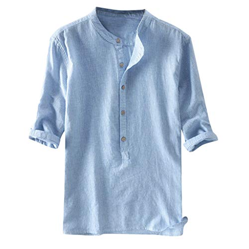 NIKAIRALEY T-Shirt Men's Stripe Button Linen and Cotton Half Sleeve T Shirts Summer Beach Tees Casual Solid Loose Top Blouse Light Blue