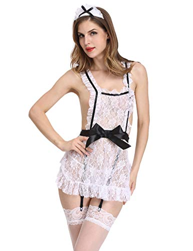 Amiliashp French Maid Costume Lace Cosplay Uniform Apron Fancy Dress Lingerie (S) White for $<!--$13.99-->
