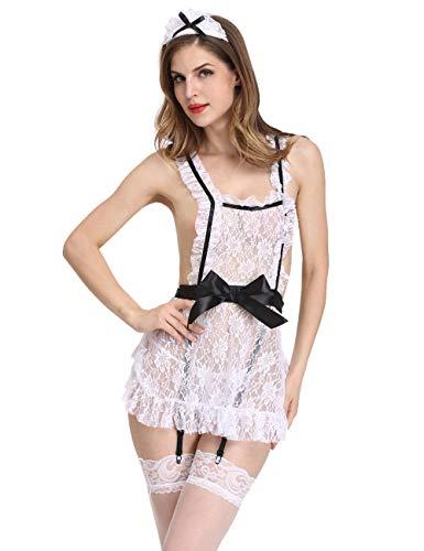 (Amiliashp French Maid Costume Lace Cosplay Uniform Apron Fancy Dress Lingerie (S) White)