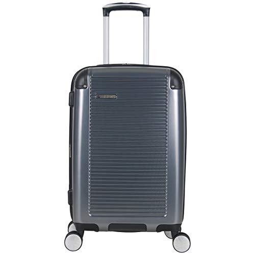 BEN SHERMAN Norwich Collection Lightweight Hardside PET Expandable 8-Wheel Spinner Luggage, Gunmetal, 20-Inch Carry-On