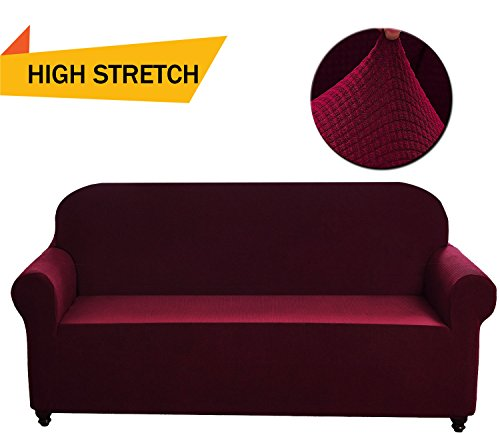 Chelzen Stretch Sofa Covers 1-Piece Polyester Spandex Fabric Living Room Couch Slipcovers (Loveseat, Wine - Living Loveseat